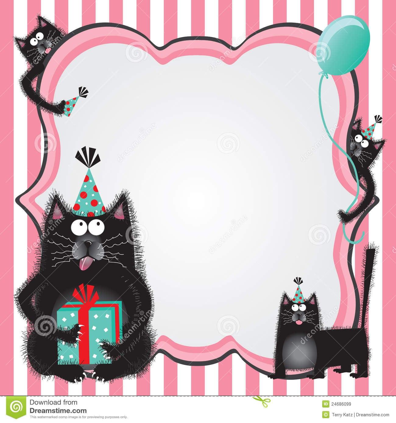 Kitty Cat Birthday Party Invitation Royalty Free Stock Images