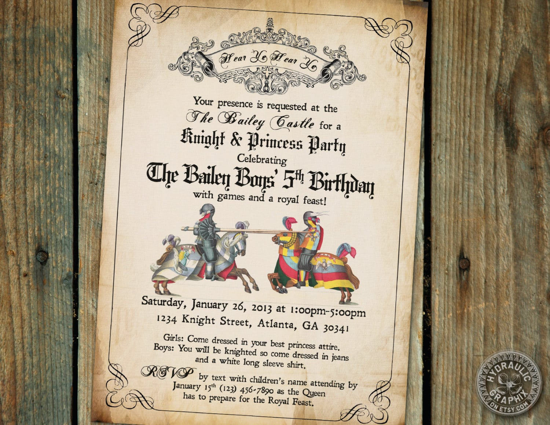 Knight Birthday Party Invitation Printable, Medieval Times Invite
