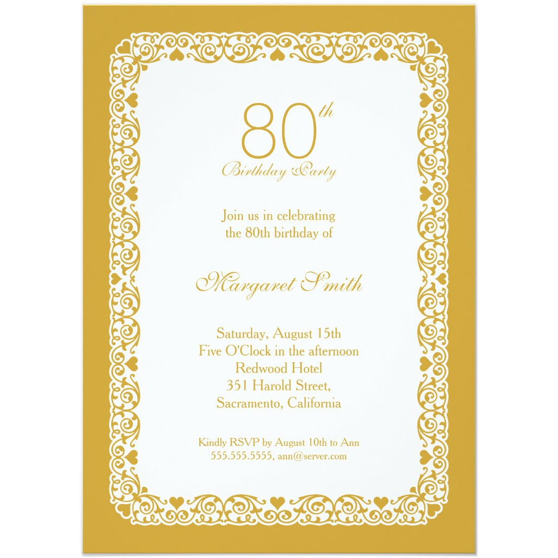 Lace 80th Birthday Party Invitations