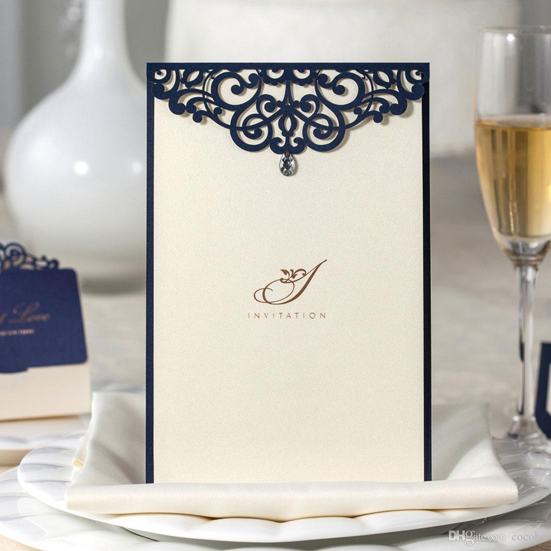 Laser Cut Wedding Invitations Kits Navy Blue Lace Floral Birthday
