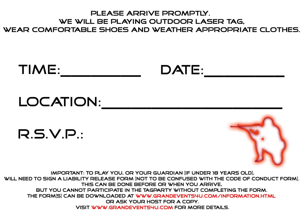 Free Printable Laser Tag Party Invitations - Mickey Mouse ...