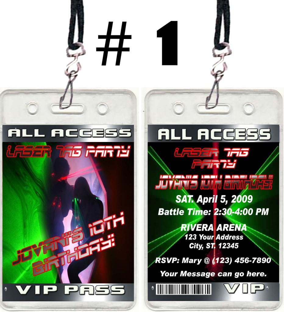 Laser Tag Ticket Vip Birthday Party Invitations And Favors