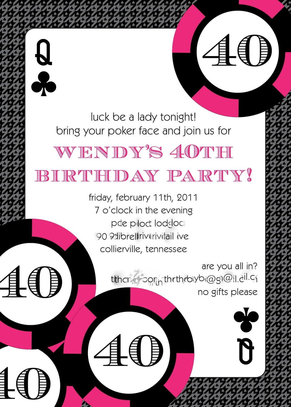 Licious 40th Birthday Party Invitations Wording Ideas Birthday
