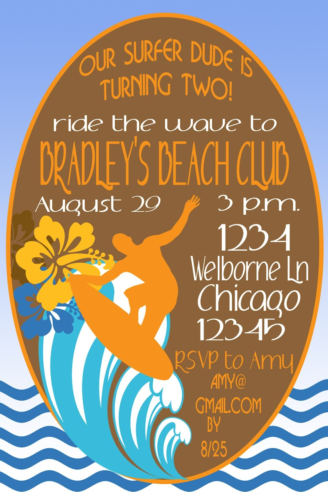 Lil Mop Top  Surfer Dude Party Invitation & Inspiration