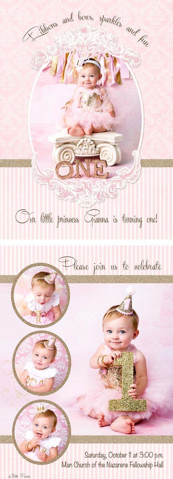 Linnea, Birthday Invitation Photo Card Template