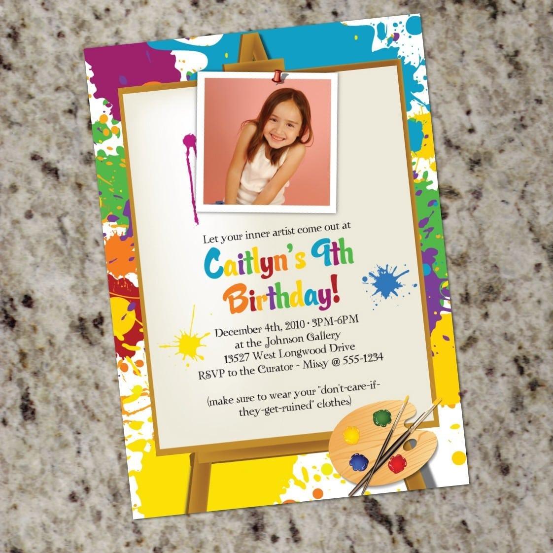 Little Artist Art Painting Birthday Party Invitations