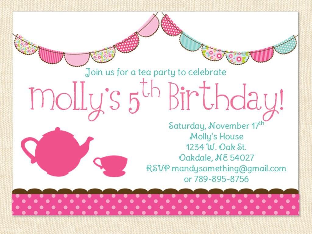 Little Girl Tea Party Invitations