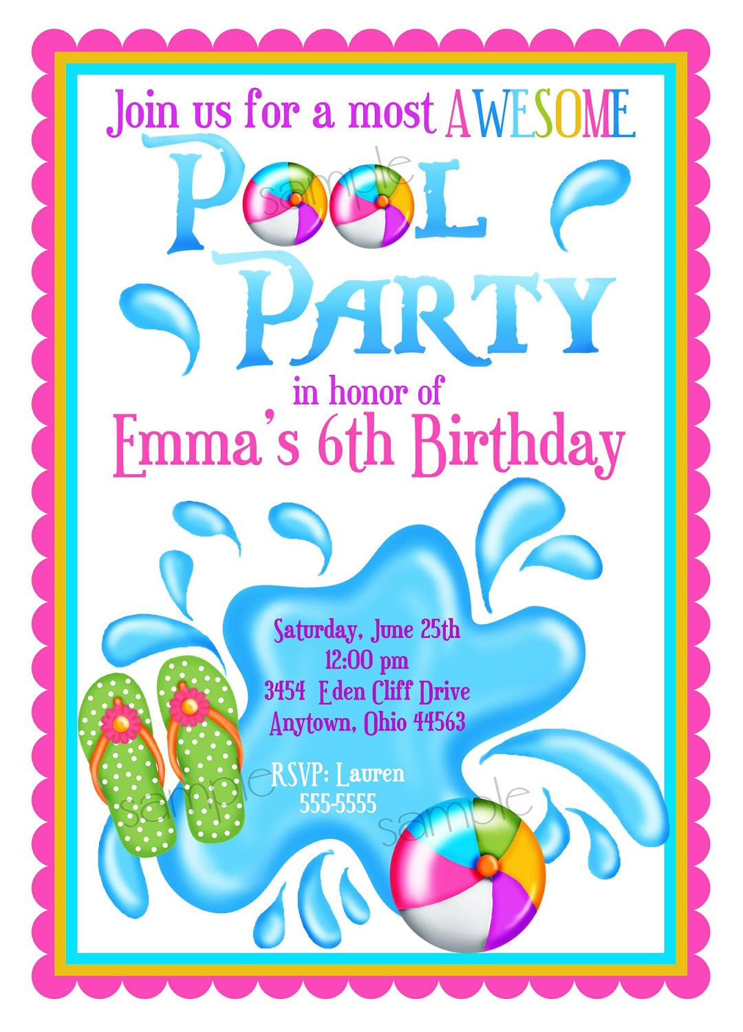 Lovely Examples Of Pool Party Invitation For Kids Be Affordable