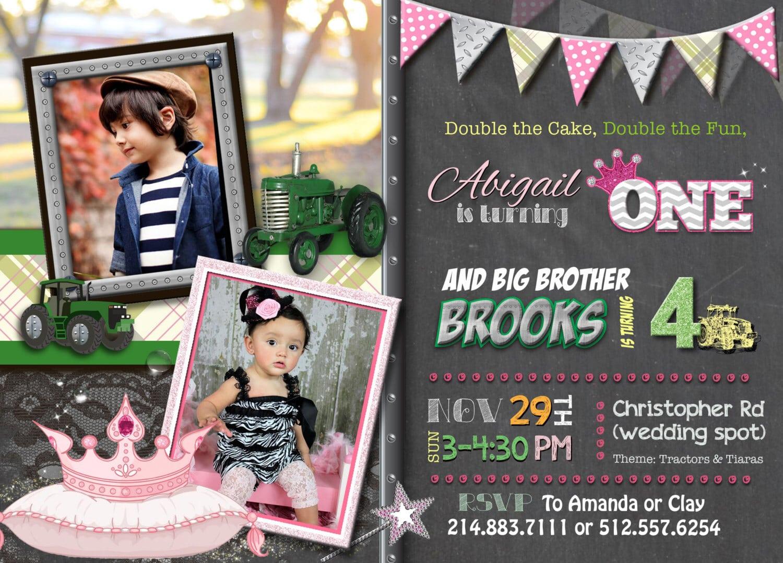 Luau Twins Birthday Invitation