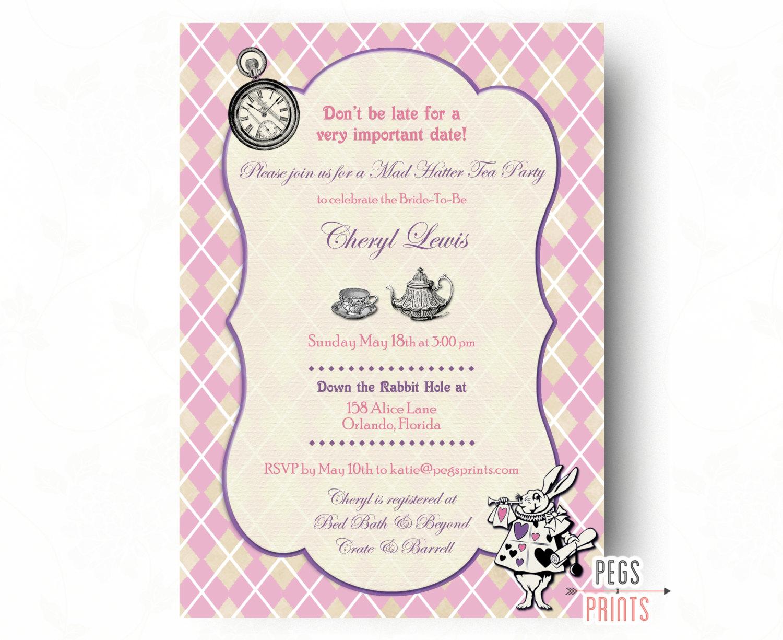 Mad Hatter Bridal Shower Invitation Mad Hatter Tea By Pegsprints