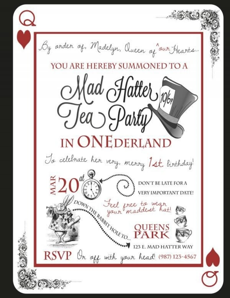 Mad Hatter Tea Party Invitations Templates