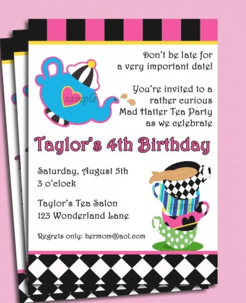 Mad Hatter Tea Party Invitation Wording - Mickey Mouse Invitations ...