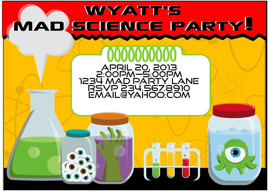 Science Birthday Party Invitations - Mickey Mouse Invitations ...