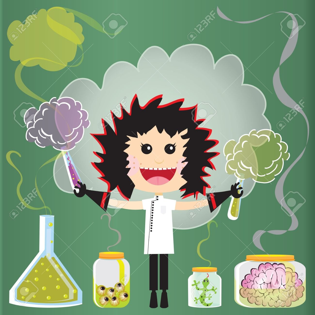 Mad Scientist Birthday Party Invitations  Puffs Of Smoke And