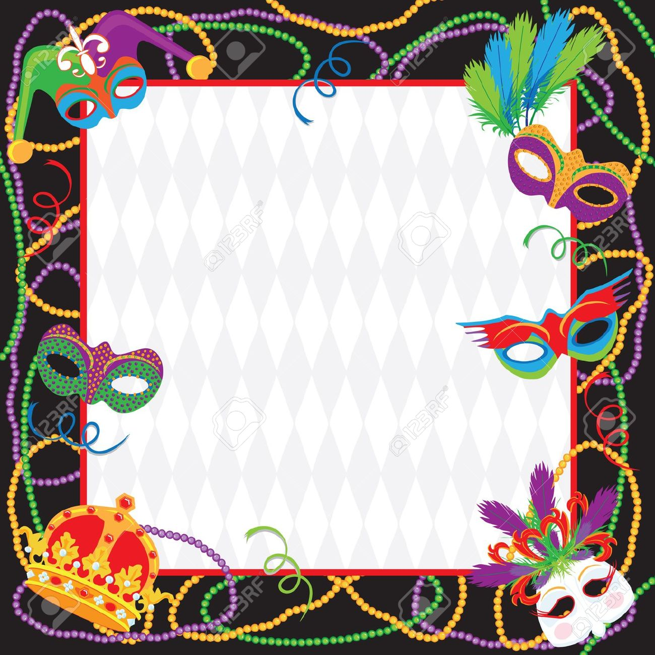 Mardi Gras Party Invitation Royalty Free Cliparts, Vectors, And