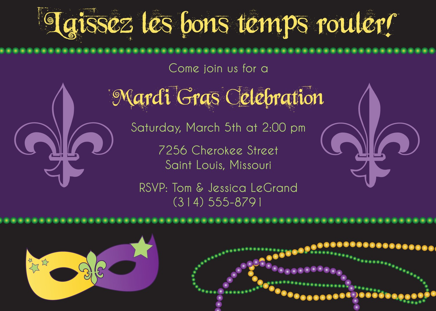 Mardi Gras Party Invitations Fat Tuesday By Starlightstl On Etsy