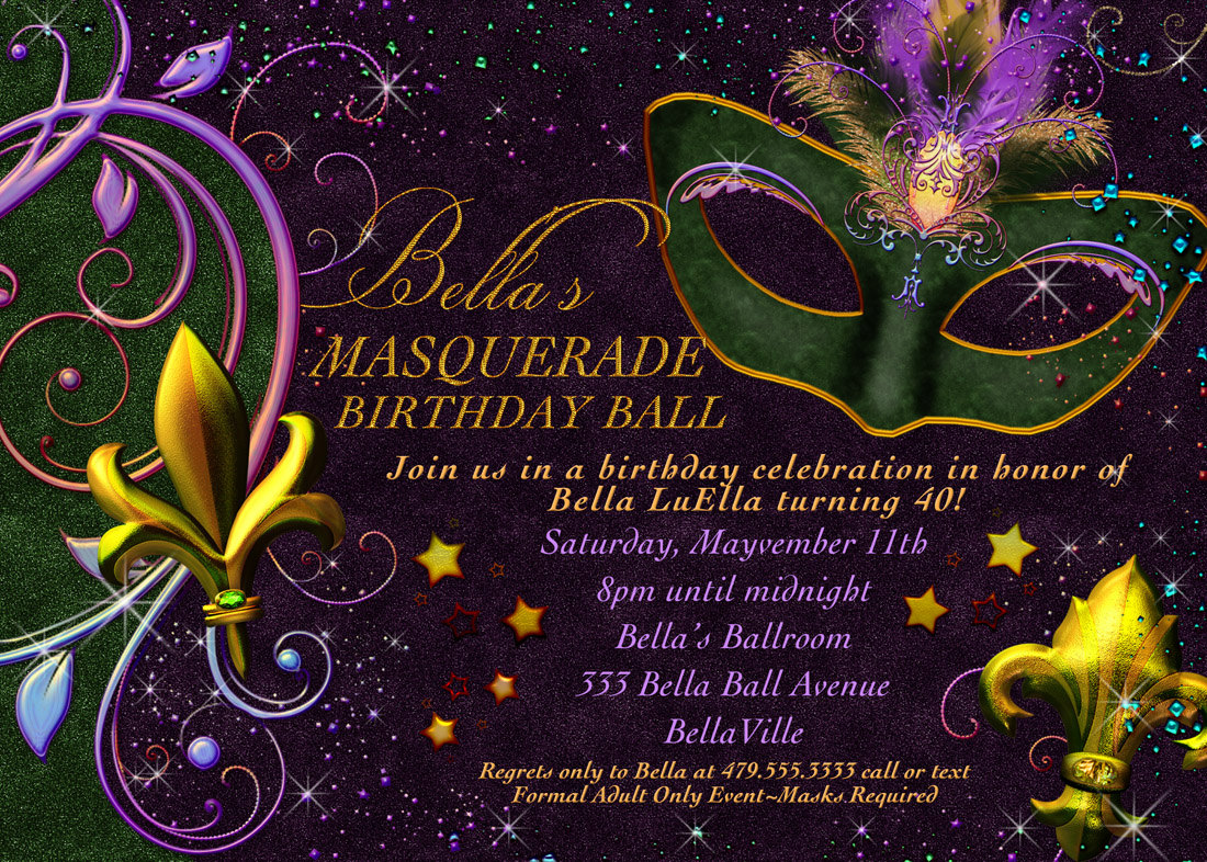 Mardi Gras Party Invitation - Mickey Mouse Invitations Templates