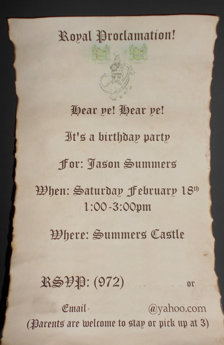 Medieval Party Invitations