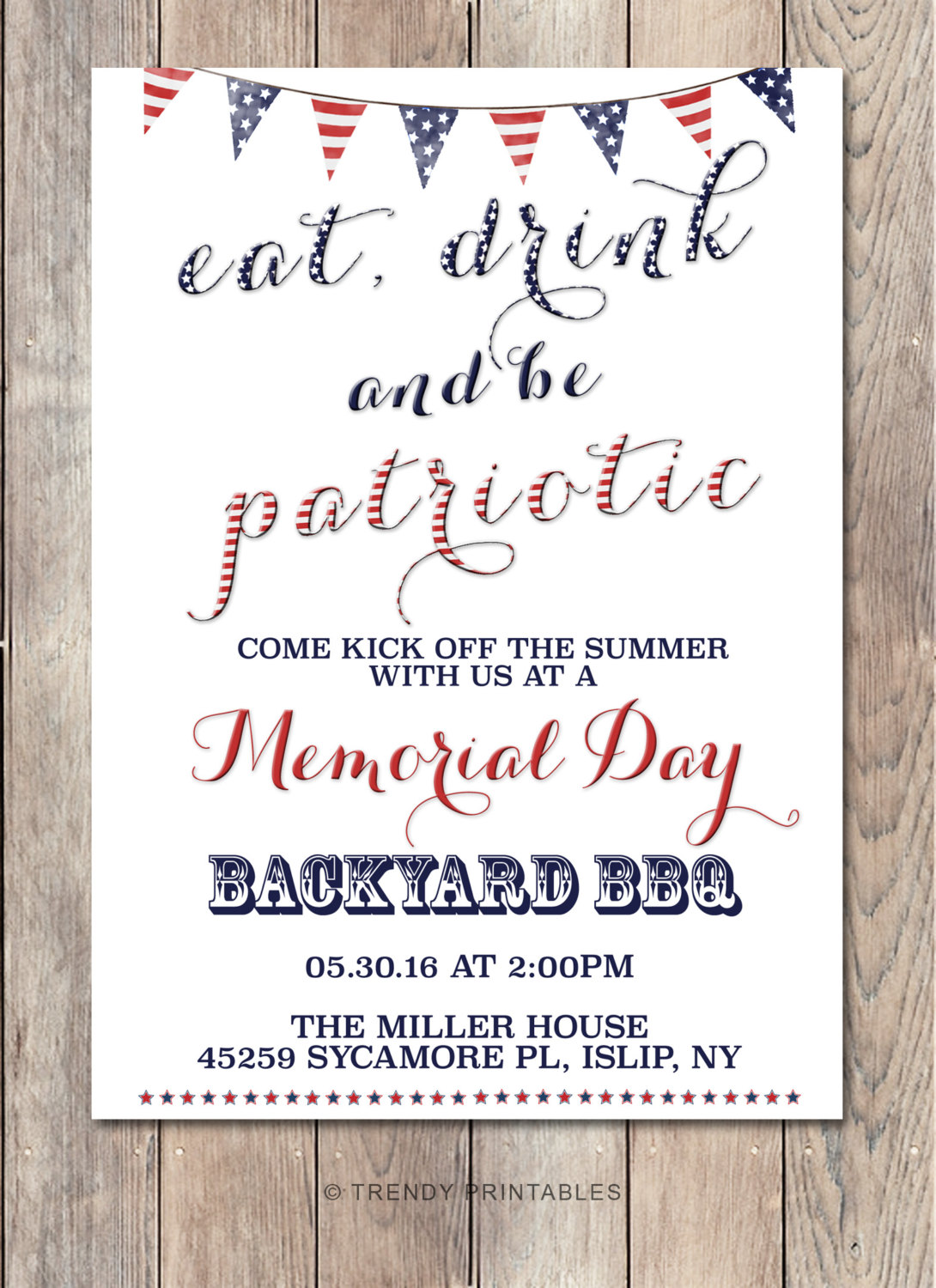 Memorial Day Party Invitation Memorial Day Bbq By Trendyprintables