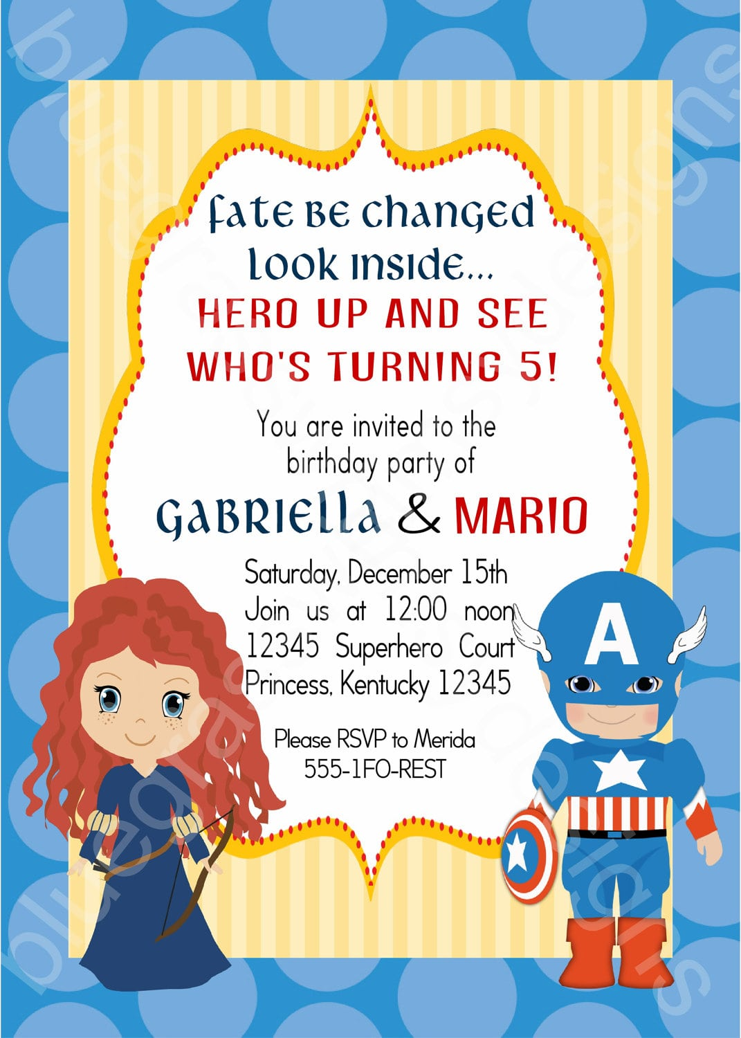 Merida Captain America Brother Sister Twins Birthday Party