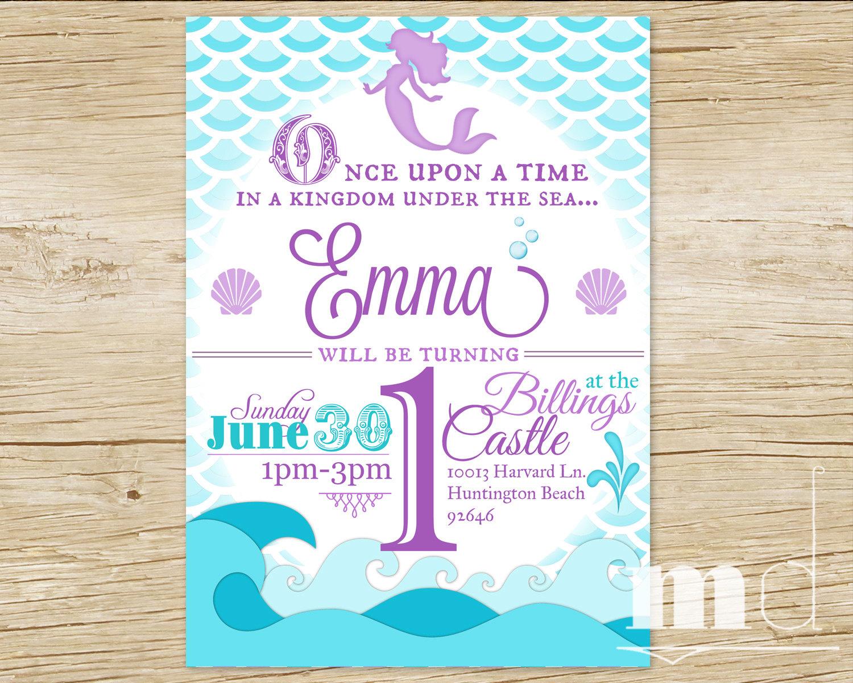 Mermaid Birthday Party Invitation, Little Mermaid Birthday Invite