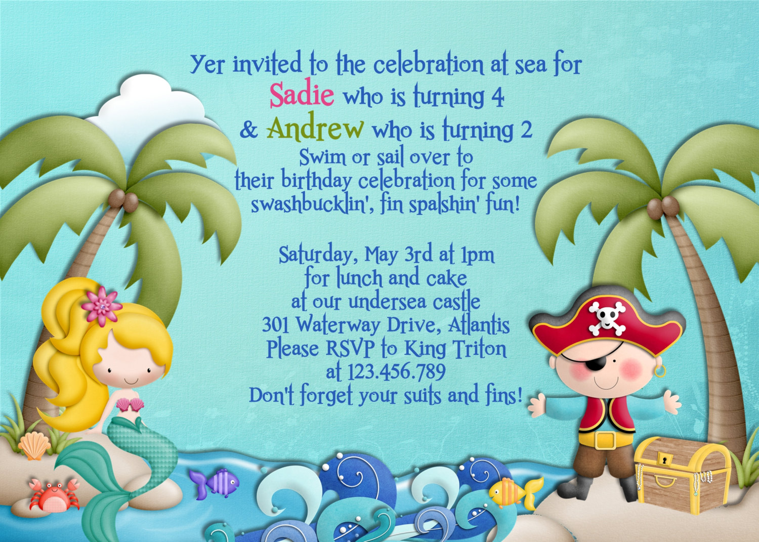 Mermaid and pirate birthday party invitations mickey mouse mermaid pirate birthday party invitation wording for twins stopboris Images