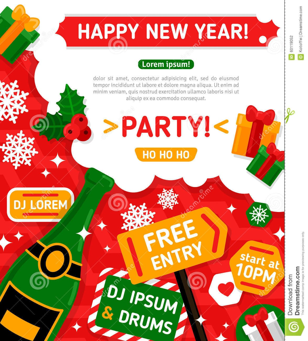 Merry Christmas And Happy New Year Party Stock Photo