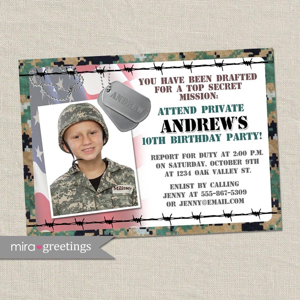 Military Birthday Party Invitation Camo Invites Army Party