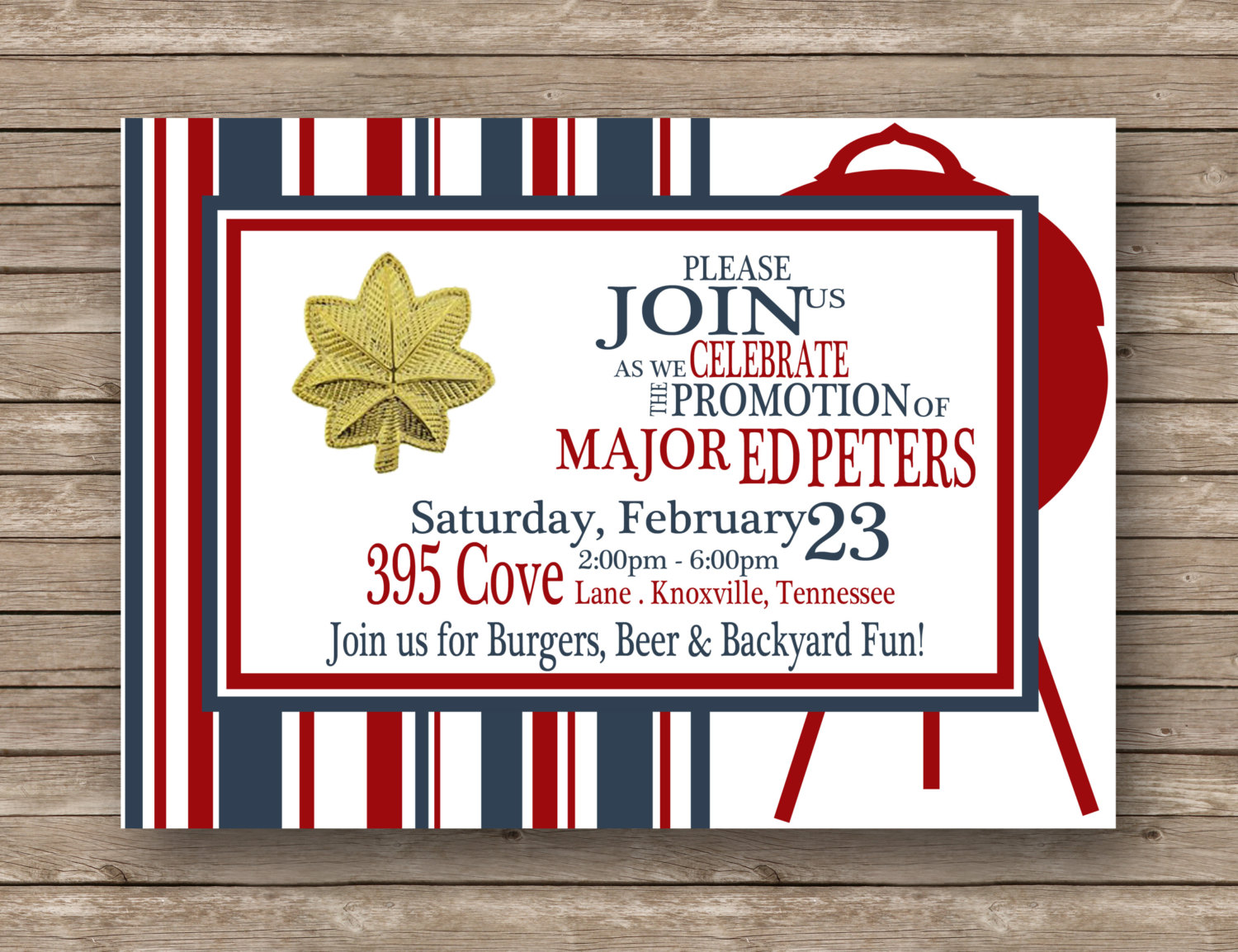 Military Job Promotion Graduation Retirement Typography Red, White