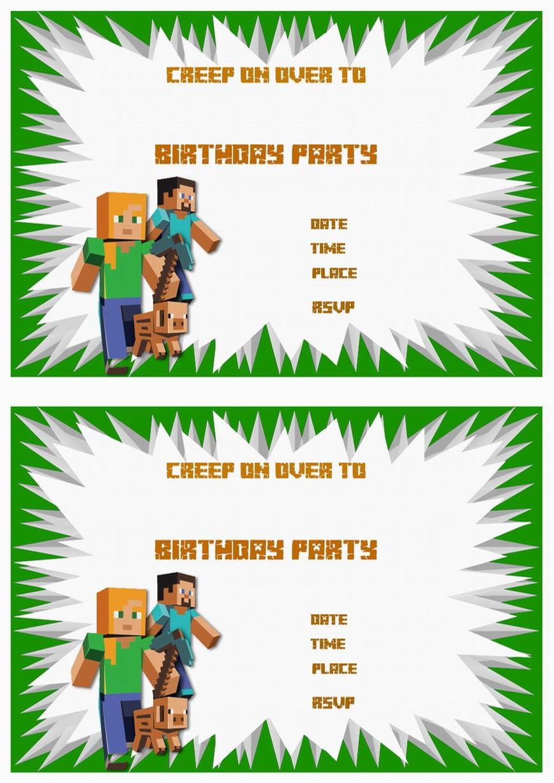 Minecraft Birthday Invitations – Birthday Printable