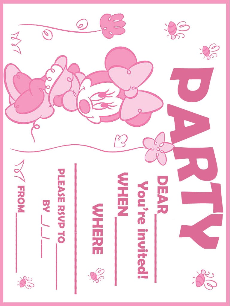 Minnie Mouse Free Printable Party Invitations