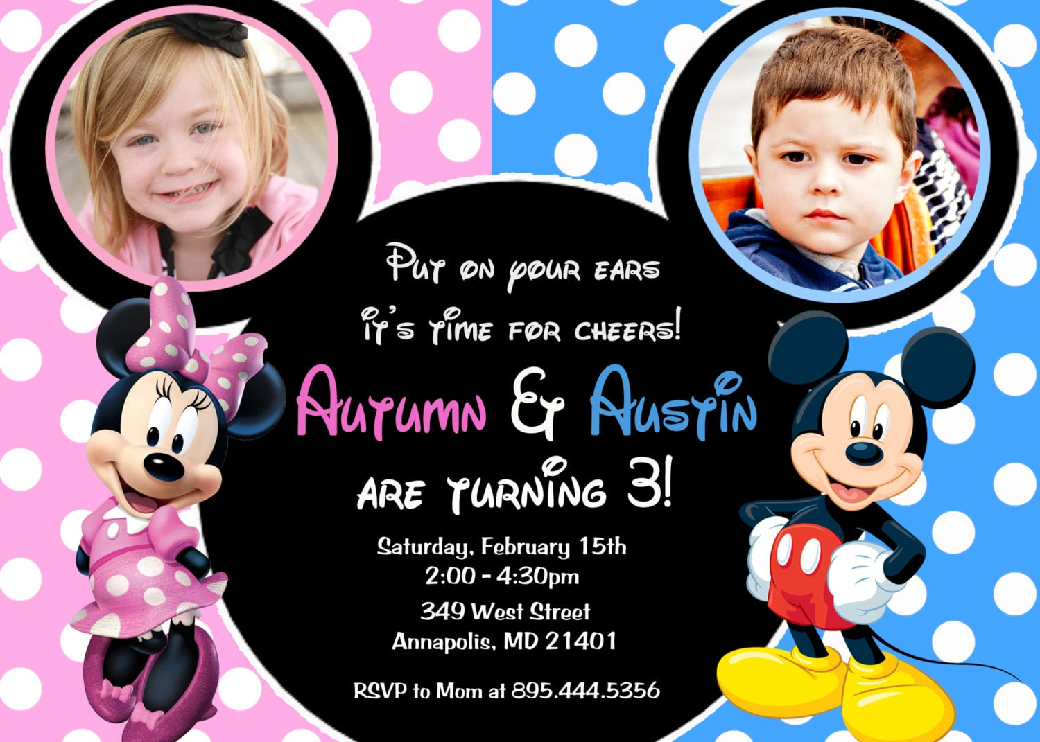 Minnie Mouse Mickey Mouse Double Twins Birthday Party