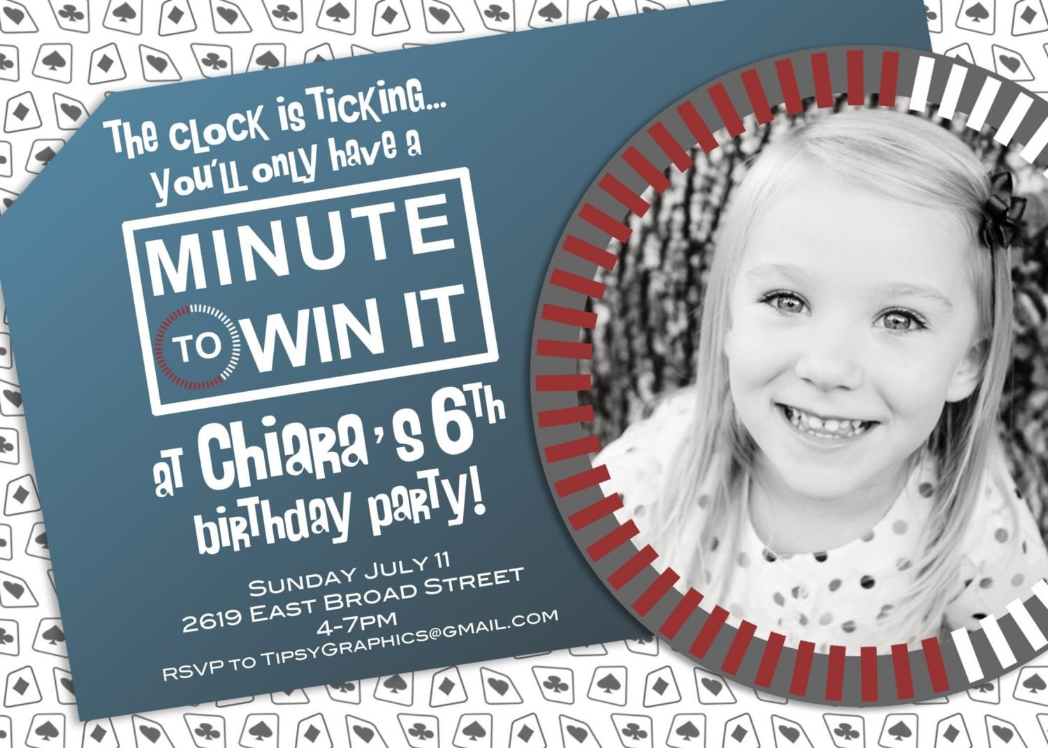 Minute To Win It Or Poker Vegas Party Invite With Photo