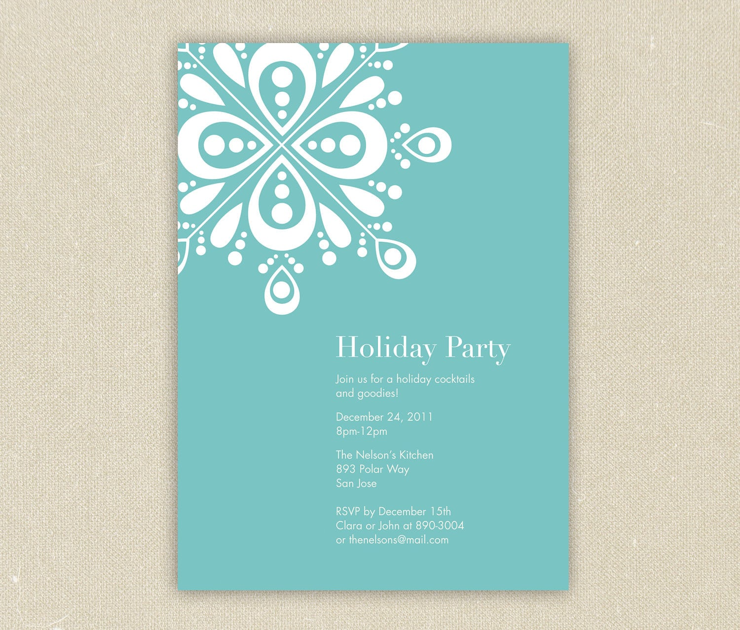 Modern Showflake Christmas, Winter Or Holiday Party Invitation