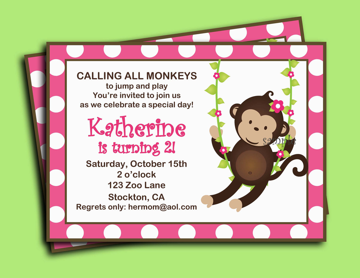 Monkey Girl Invitation Printable Or Printed With By Thatpartychick