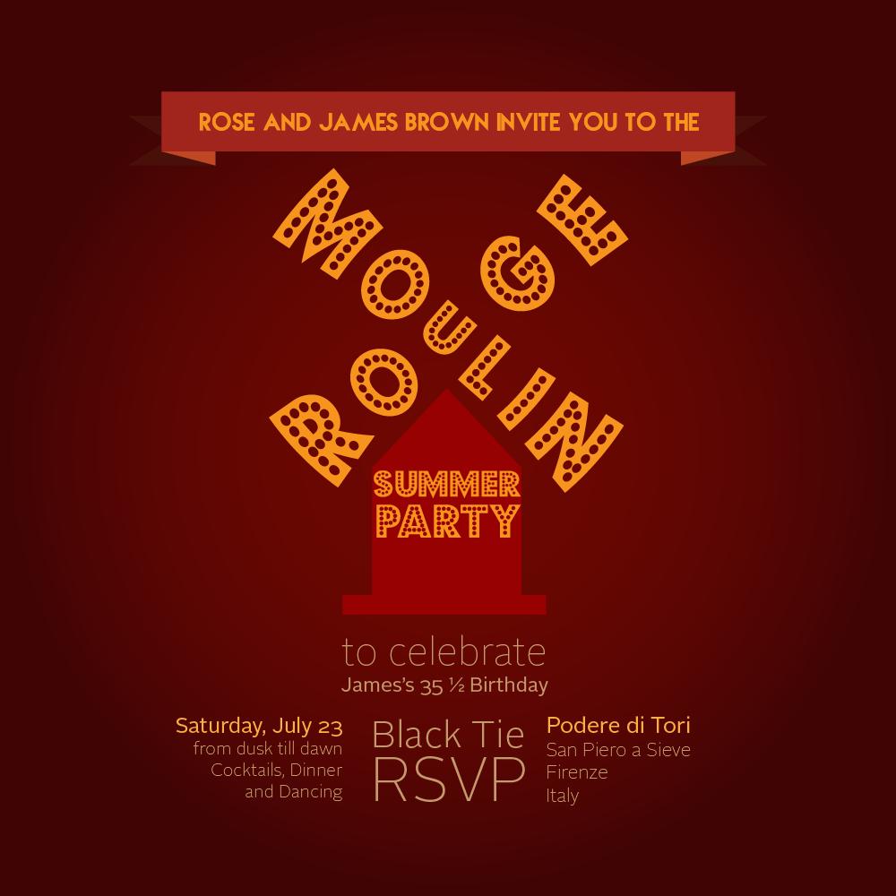 Moulin Rouge Movie Black Tie Party Invitation