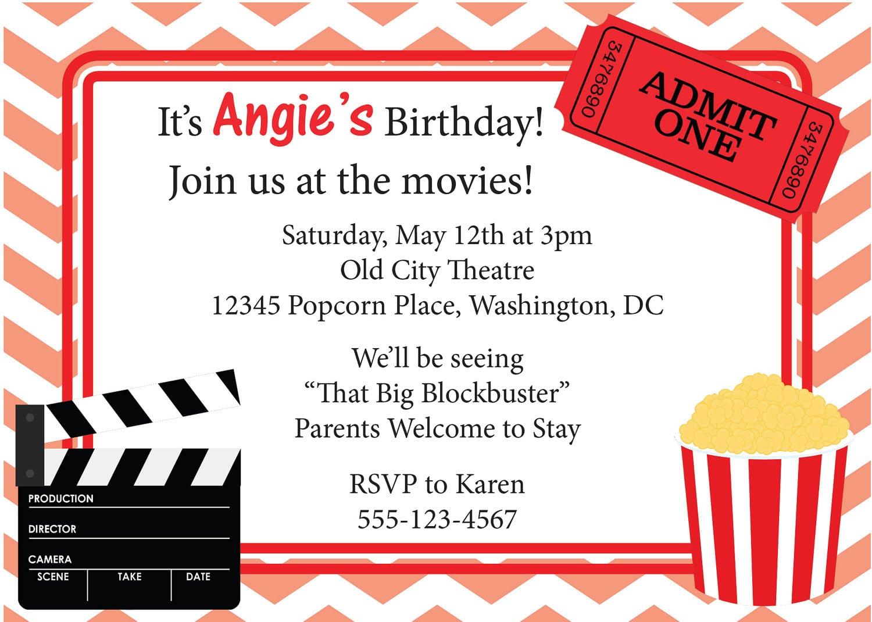 movie night party invitation template