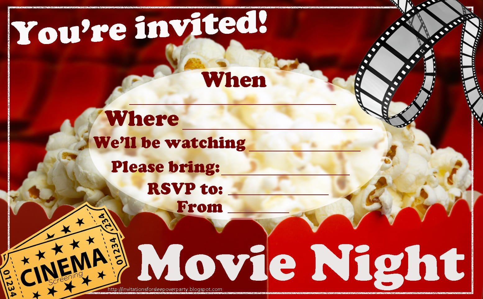 Movie Night Party Invitation Template - Mickey Mouse Invitations ...