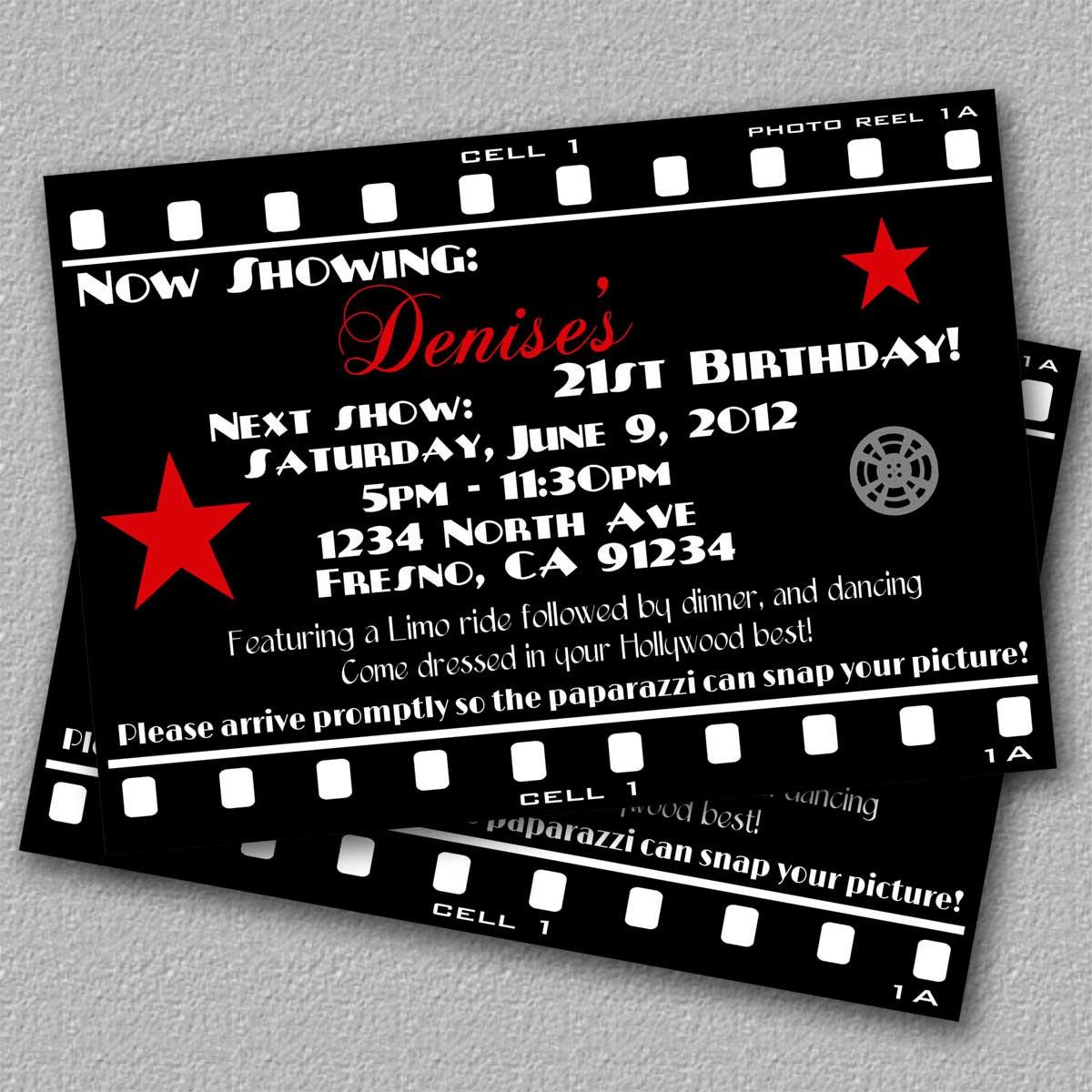 Movie Theme Party Invitation Templates