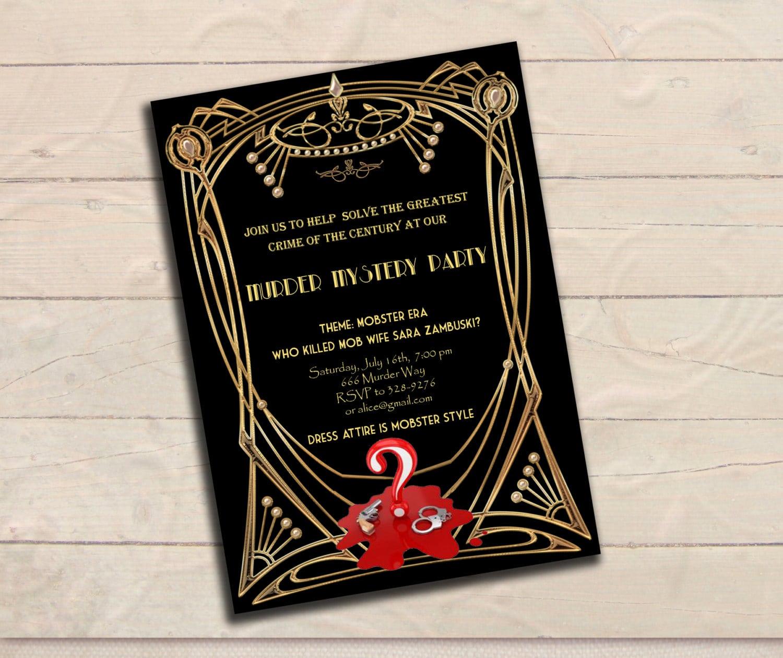 Murder Mystery Great Gatsby Inspired Party Invitation Black