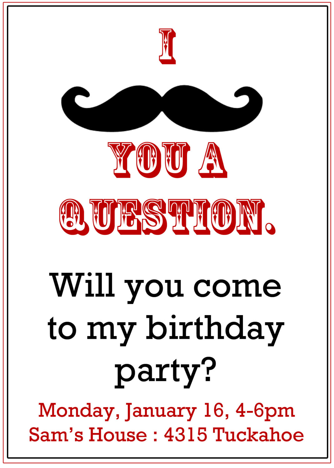 Moustache Party Invitations - Mickey Mouse Invitations Templates