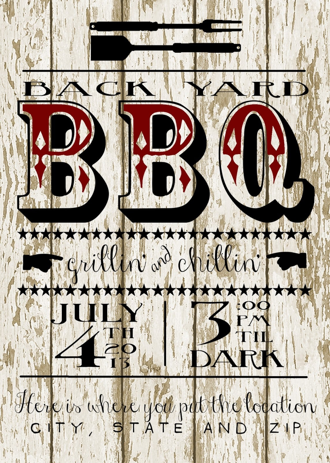 My 3 Monsters  Back Yard Bbq Party Invitation{free Printable!!}