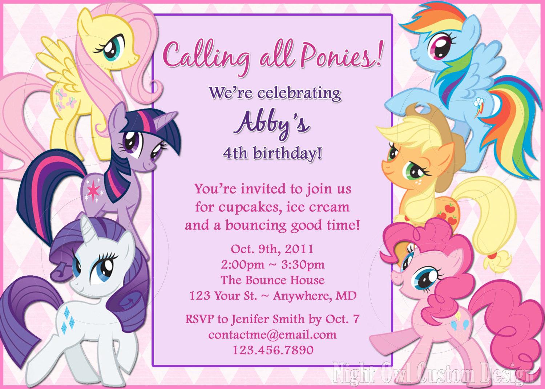 My Little Pony Birthday Invitation Diy By Nightowlcustomdesign