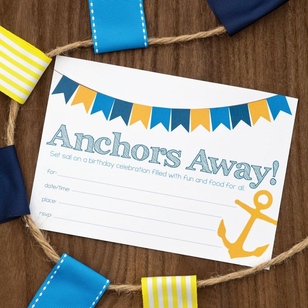 Nautical Themed Birthday Party Invitation