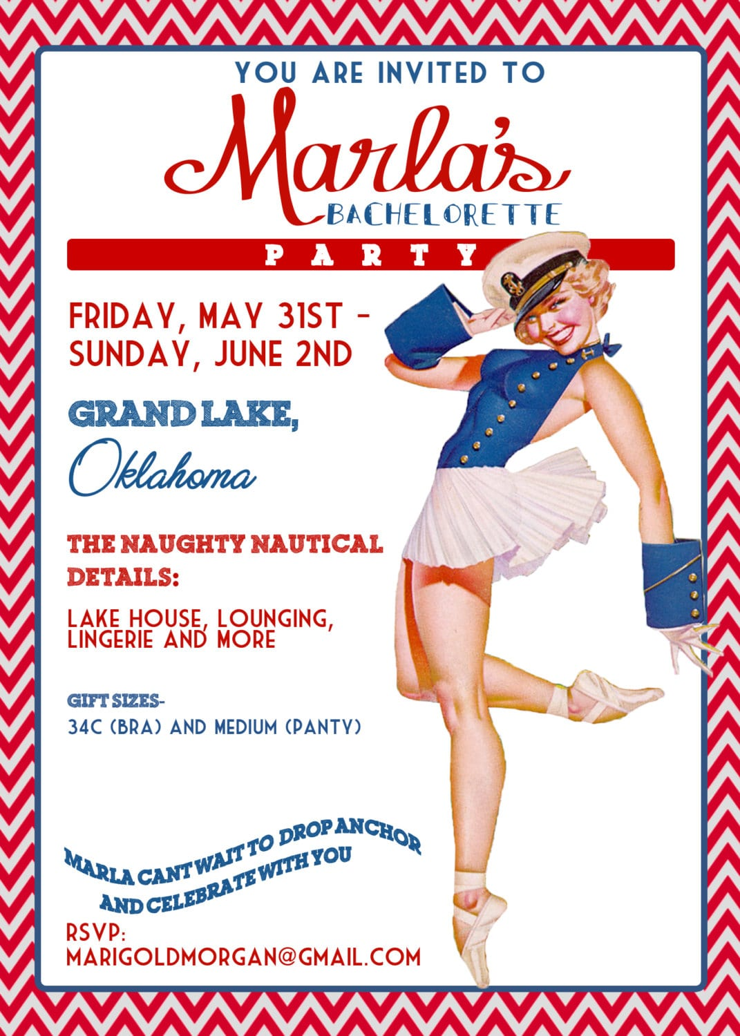 Nautical Vintage Pin Up Girl Invitation Bachelorette Party