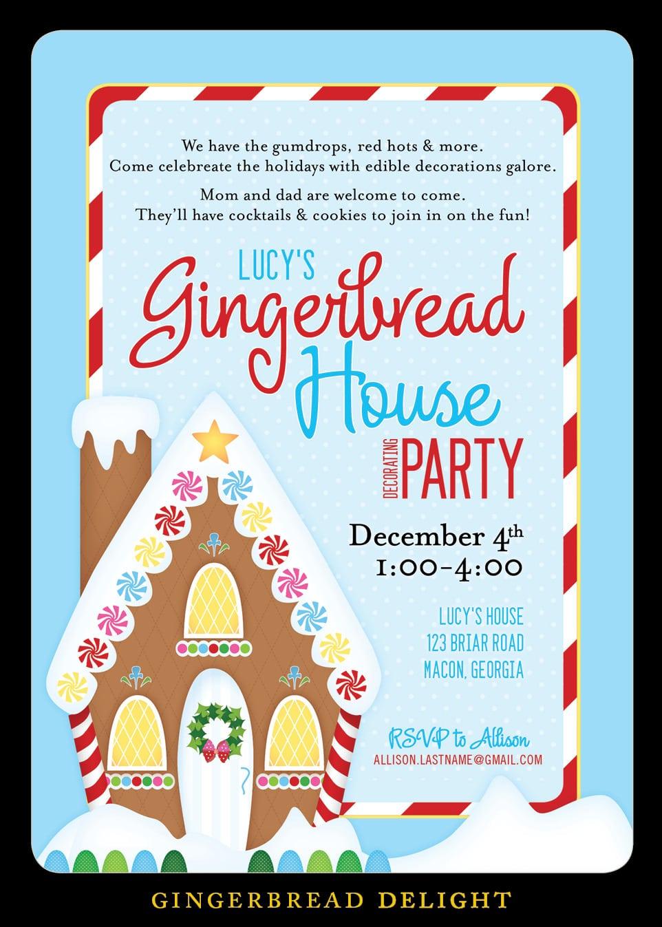 Nealon Design  Gingerbread House {decorating} Party Invitation
