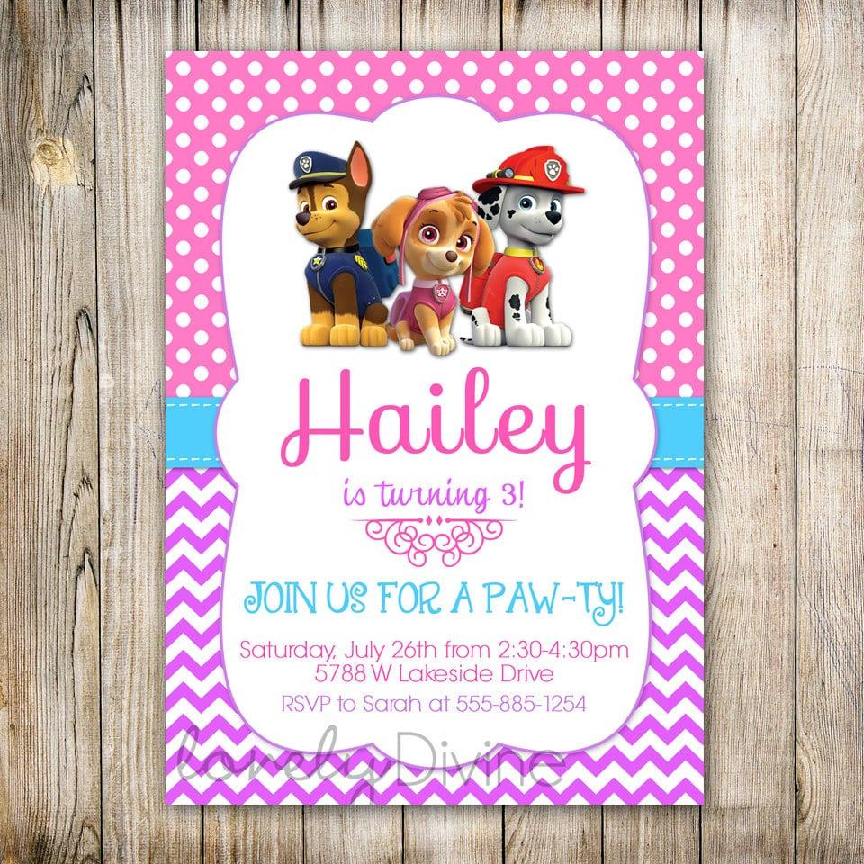 On Sale 25  Off Paw Patrol Skye Birthday Party Invitation
