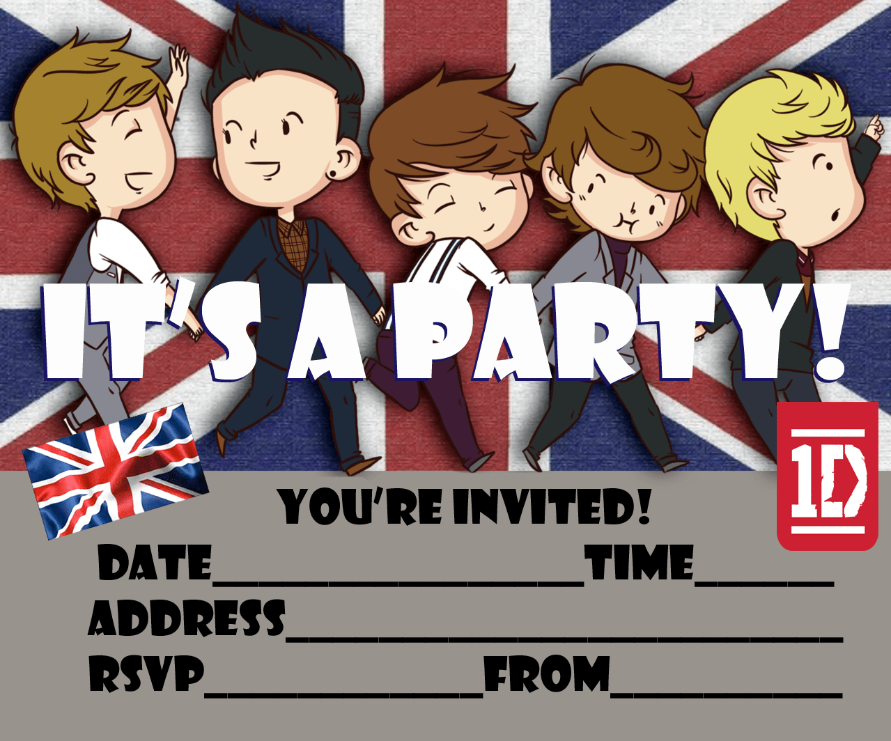 One Direction Free Printable Party Invitation For 1d Fans To Print