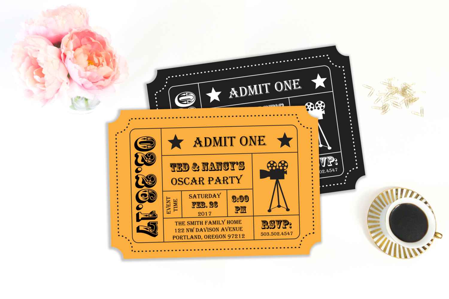 Printable pirate party decorations amp supplies free templates - Academy Awards Party Oscar Invitation