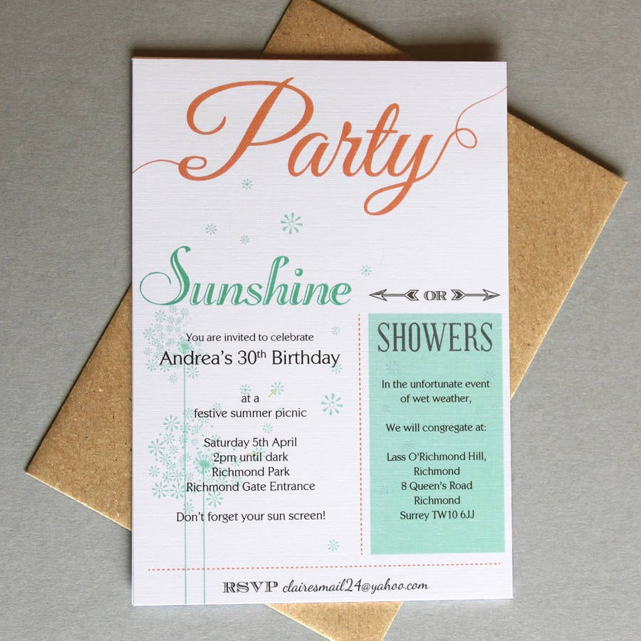 Outdoor Party Invitations